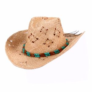 Raffia Women′s Handmade Weaving Pattern Straw Hat pictures & photos