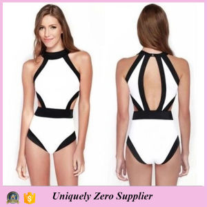 2016 Europe American Hot Selling Bikini Stitching Color One Piece Women Swimsuit with Back Split pictures & photos
