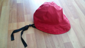 Solid Red PU Rain Cap with Strap for Adult pictures & photos