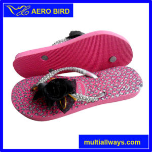 PE Slipper Sandal Shoes for Girl with Beautiful Flower pictures & photos