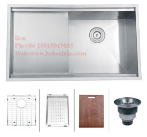 20X33 Stainless Steel Top Mount Single Bowl Handmade Kitchen Sink with Drain Board pictures & photos