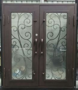 Hand-Forged Flat Top Wrougt Iron Double Doors pictures & photos