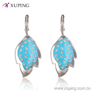Xuping Wholesale Fashion New Ladies Leaf Rhinestone Jewelry Earrings Eardrop -26458 pictures & photos