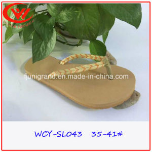 2016 New Style Design Women Slipper Flip Flops of Canvas Strap pictures & photos