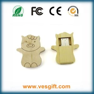 Hot Selling Cute Cartoon Gift Wood Housing USB Memory Stick pictures & photos