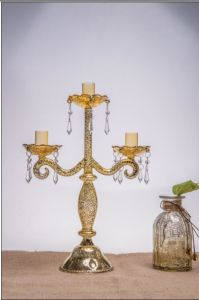 Antique Color Glass Candle Holder for Wedding Decoration with Three Poster pictures & photos