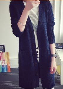 Women′s Thin Cardigan Sweater Coat and Long Sections (BTQ117) pictures & photos