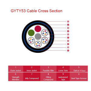 Armoured and Double Sheathed Outdoor Optical Cable GYTY53 pictures & photos