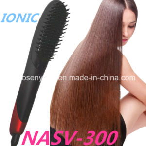 2016 New Arrive Anion Fast Hair Straightener Nasv-300 Hair Straight Brush Anti-Scald Static Hair Straightener Brush with LCD Display pictures & photos