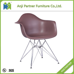 PP Seat with Chromed Steel Base Design Durable Colorful Seat Dining Home Chair (Coral) pictures & photos