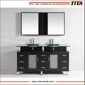 2016 Tempered Glass Double Above Mount Sink Bathroom Cabinet T9119 pictures & photos