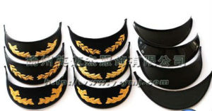 Black Shiny Chin Strap Military Cap with Embroidery pictures & photos