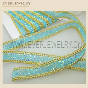1cm Hotfix Adhesive Crystal Rhinestone Strip with Chain pictures & photos