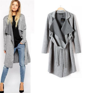 European Style Casual Winter Women Long Knit Coat with Belt pictures & photos