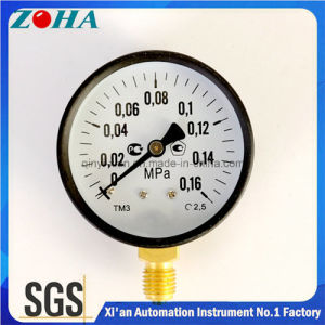"""2.5"""" Inch 0.16MPa Radial Mounting Common Manometers with Black Steel Case Brass Fixation Hot Selling in Russia pictures & photos"""