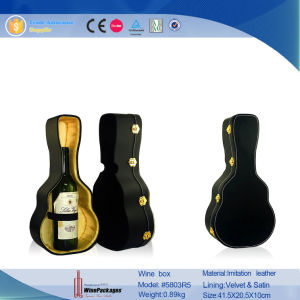 Novelty Violin Shaped Gift PU Leather Wine Box (5803R5) pictures & photos