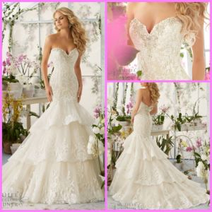 Sweetheart Bridal Gown Tiered Lace Mermaid Wedding Dresses Mrl2810 pictures & photos