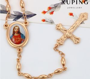 43061 Fashion Charm Jesus Cross Rose Gold-Plated Imitation Alloy Copper Jewelry Chain Necklace pictures & photos