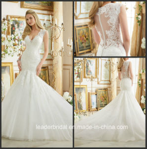 Mermaid V-Neck Bridal Gowns Lace Tulle Sheer Back Wedding Dress 2017 Mrl2882 pictures & photos