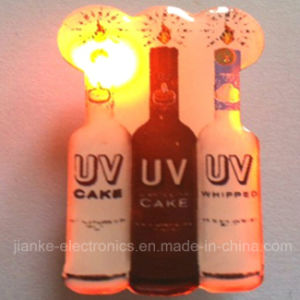Hot Sell LED Flashing Bottle Pin with Logo Printed (3569) pictures & photos