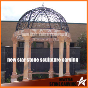 Sunset Red Marble Gazebo with Iron Cover pictures & photos