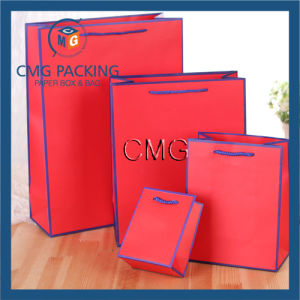 Happy Red Paper Gift Bag with Light Blue Border (DM-GPBB-079) pictures & photos
