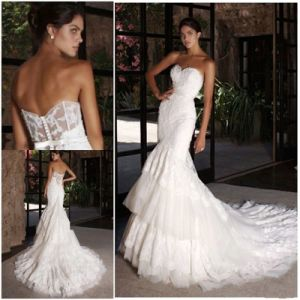 Mermaid Bridal Wedding Gown Lace Tulle Sheer Corset Sexy Wedding Dress H9036 pictures & photos