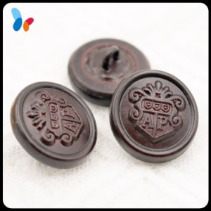 Customized Embossed Logo Darker Red Genuine Leather Garment Button with Shank pictures & photos