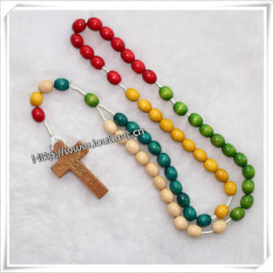 Colourful Knotted Cord Rosary Bracelet with Wooden Beads (IO-cr066) pictures & photos
