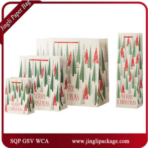 Jingle Song Glister Paper Products Bags Matt Lamination Carrier Gift Bags with J Hook pictures & photos