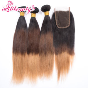 Best Selling Virgin Brazilian Hair Lace Top Closure with Ombre Color pictures & photos