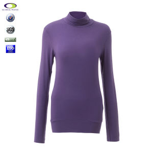 Polyester Spandex Skin Tight Thin High Neck Plain Loose T-Shirt for Women