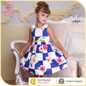 Vintage Flower Plaid Cotton Dress for Kids, Children Frocks Design