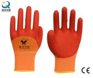 13G Polyester Liner Latex 3/4 Coated Safety Glove pictures & photos