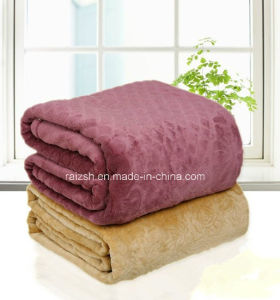 Hot Sale Embossed Flannel Fleece Blanket with Solid Color pictures & photos