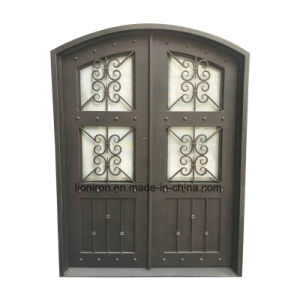 Custom Eyebrow Entry Doors with Iron and Glass pictures & photos