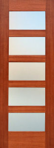 Moldel Mahogany Composite Wood Door with 5 Frosted Glass (S4-1009) pictures & photos