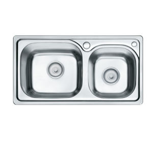 Two Bowls Countertop Kitchen Sink (OP-PS328-TC) pictures & photos