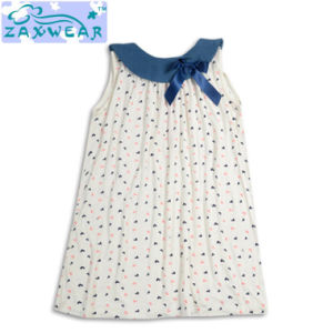 2017 New Style Casual Girl Cotton Bamboo Bow-Knot Dresses pictures & photos
