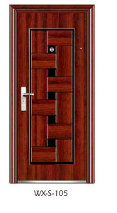 Economy Single-Leaf Steel Security Door (WX-S-105) pictures & photos
