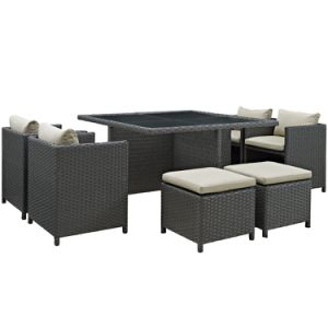 Well Furnir Sunbrella Cushion Fabric Wicker 9 Piece Square Patio Dining Set pictures & photos