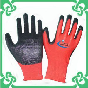 Nitrile Coated with Zebra Stripe Polyester Gloves of Work Glove