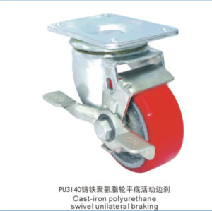 Swivel Caster with PU Wheel Cast Iron Core Side Brake