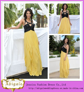 Hot Chiffon Yellow Black Halter Sleeveless Bodice Floor Length Evening Dress 2014 Prom Dress for Fat Women Yj0068