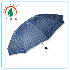 "27""*10k Large Check 3 Fold Umbrella for Man"