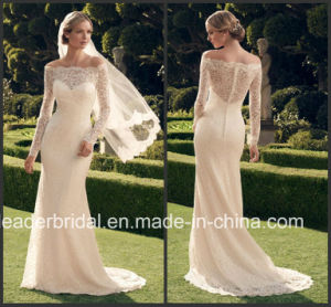 Long Sleeves Lace Bridal Gown off Shoulder Wedding Dress Cab2169 pictures & photos