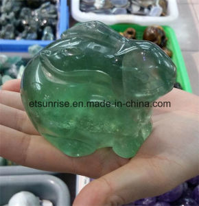 Semi Precious Stone Green Fluorite Rabbit Animal Carving Statue pictures & photos