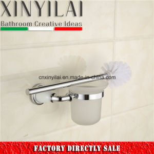 Chrome Paint Brass Toilet Brush Holder with Polish Glass Cup pictures & photos