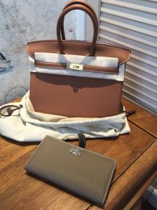 C37 Brown Togo Epsom Handmade Genuine Leather Women Handbag