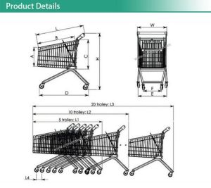 Americam Style 240L Supermarket Shopping Trolley Cart pictures & photos